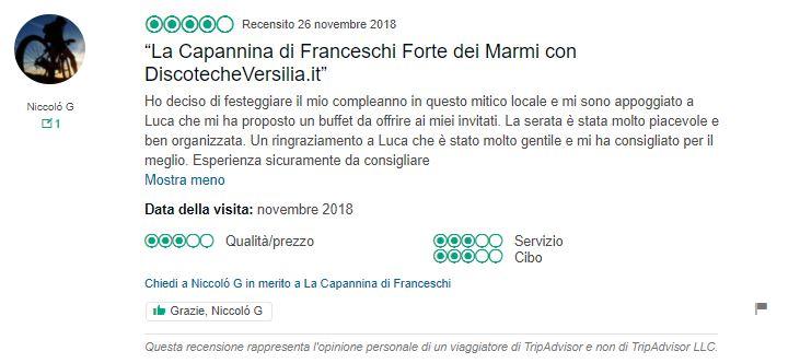 recensioni capannina di franceschi